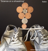 robin linhope willson:science on a shoe string, magnetic UK coins 1p 2p 5p 10p